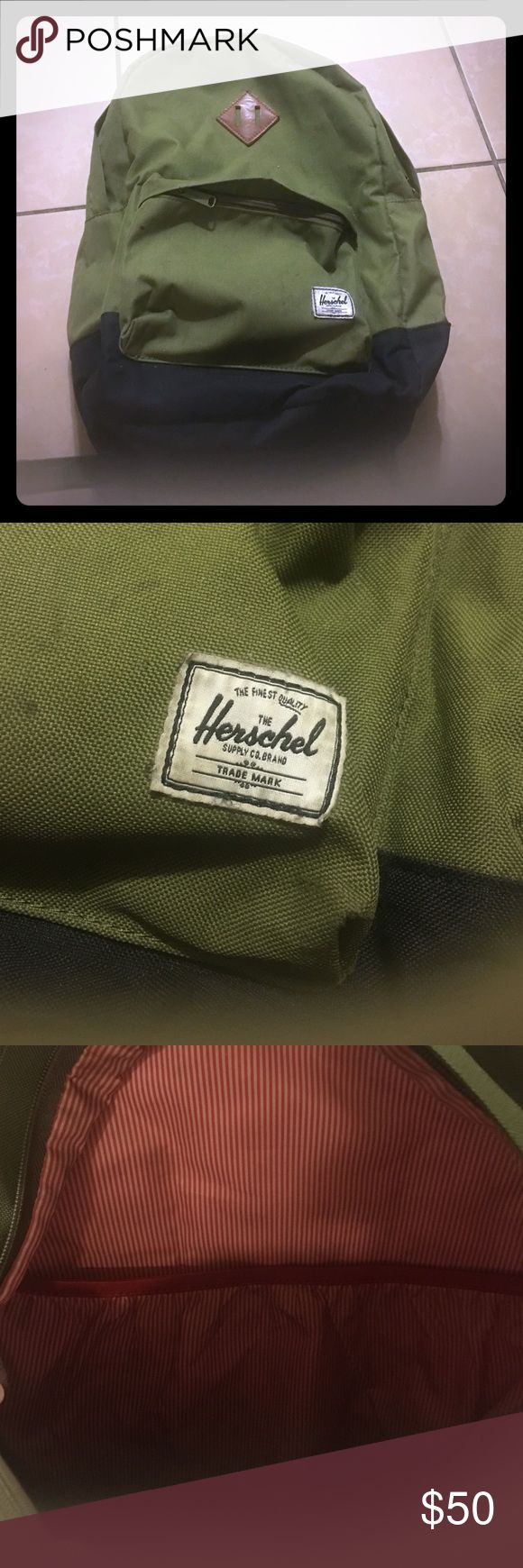 Herschel olive green backpack Stripe red lining. One size. Herschel Supply Company Bags Backpacks