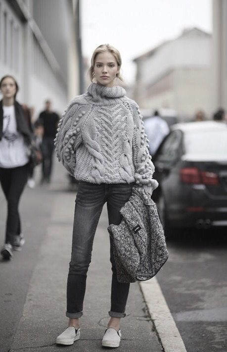 Chunky knits and grey on grey monochromatic street style