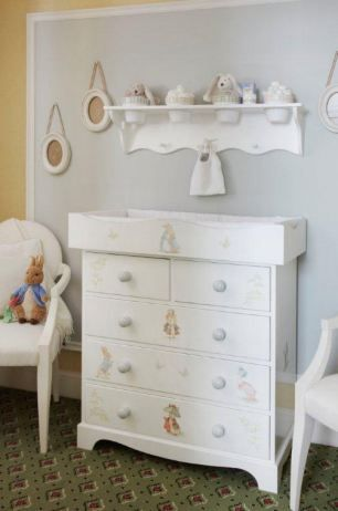 love the flower pots to hold items and the dresser painted in peter rabbit