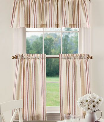 French Ticking Tier Curtains Could Also Be In Green.