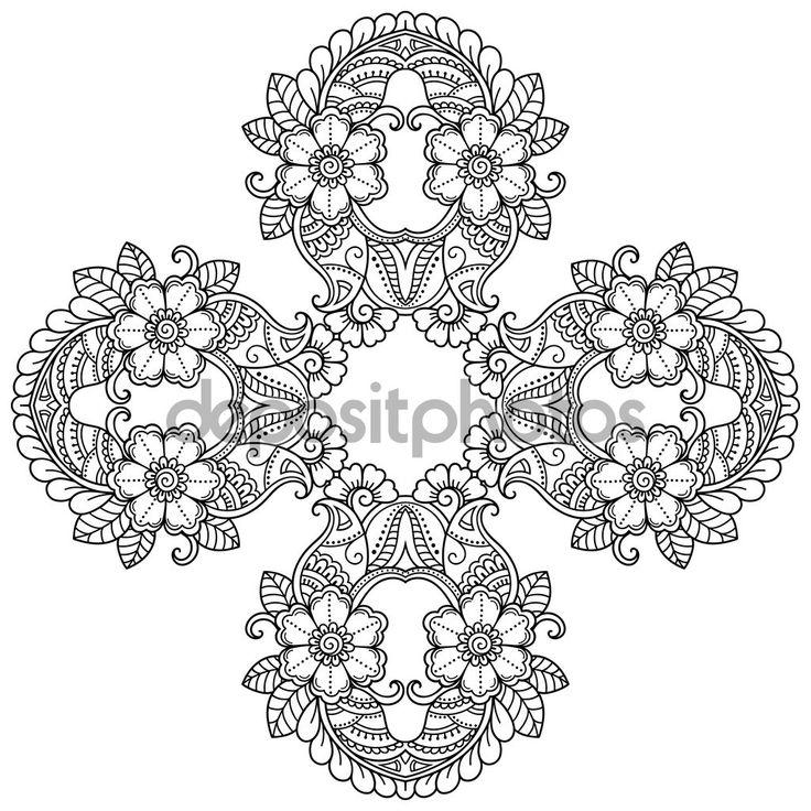Mandala del tatuaje de henna mehndi estilo. Modelo para libro de colorear. Ilustración de vector dibujado a mano aislada sobre fondo blanco. Elemento de diseño en estilo de garabatos — Ilustración de stock #122360220