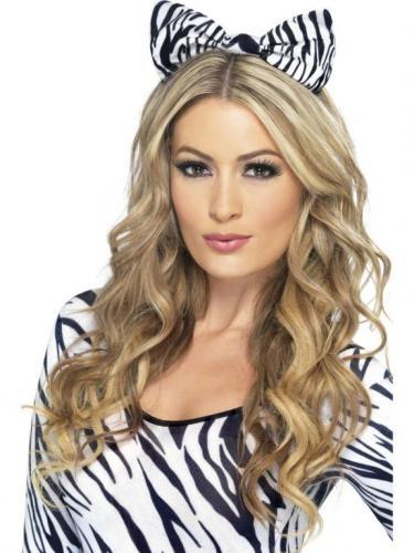 Zebra bow on headband. Diadema de zebra. Complementos para despedidas de solteras. Hen party accessories. http://www.leondisfraces.es/catalogo/Catalog/show/diadema-de-zebra-2069