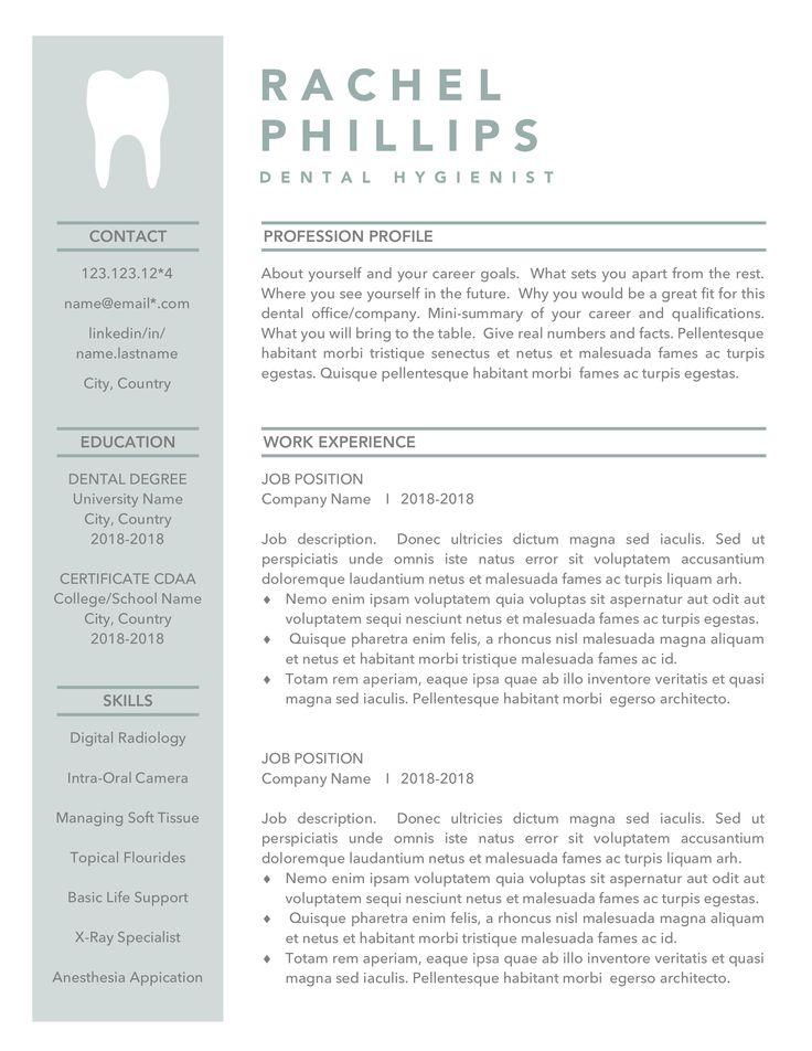 Dental Resume Template, Hygienist Resume Bundle, Dentist