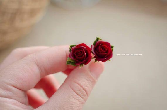 Stud earrings with burgundy (dark red) roses, Wine roses earrings, Handmade studs, Sterling silver earrings, Dark red flower jewelry, Fimo