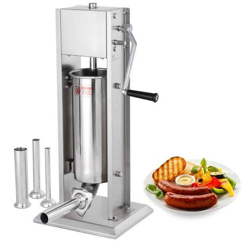 7L 20lbs Two Speed Vertical Commercial Stainless Steel Sausage Stuffer Restaurant Meat Pork  This 7L 20lbs Commercial Stainless Steel Vertical Sausage Stuffer features a full stainless steel construction . Two-speed design offers a easier way to make sausage. It is perfect for supermarkets, butcher shops, restaurants, and families, etc.     Specifications:    Overall Size: 11-3/4″L x 13-1/4″W x 32-1/2″D    Cylinder Size: 5-1/2″Dia x 18″H    Weight: 31 lbs    Capacity: 7L/20lbs    4 S..