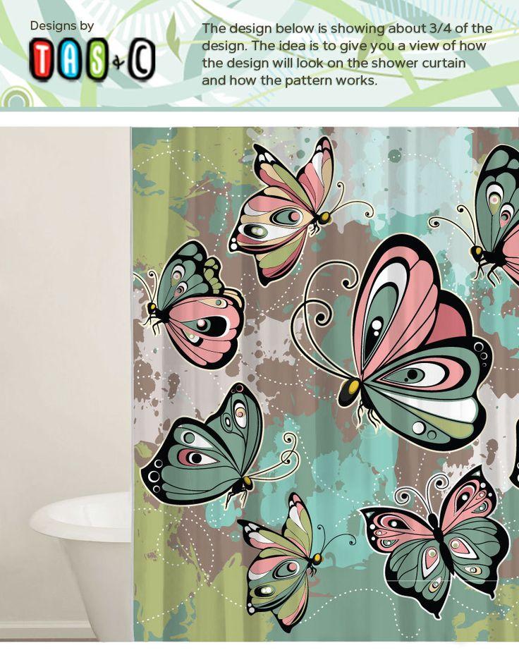 Butterfly Shower Curtain Set - Custom Shower Curtains - Modern Bathroom Curtain - Gift Ideas - Extra long Curtains - Bathroom Decor by TasandC on Etsy