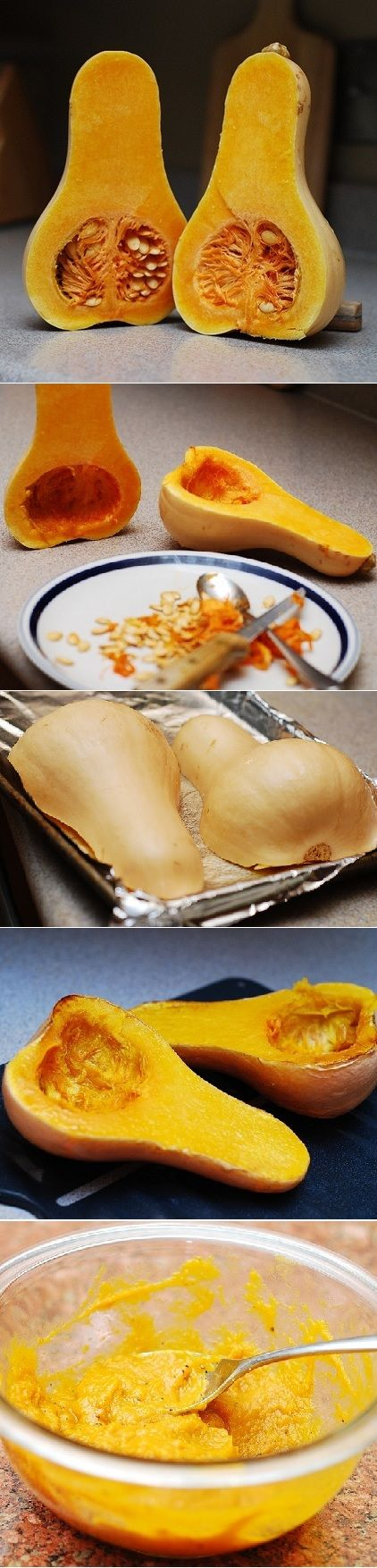 How to make homemade butternut squash puree to be used in soups, desserts, etc. Step-by-step photos. You can use the same process for making pumpkin puree | JuliasAlbum.com | #Fall_cooking