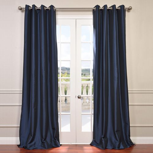 Half Price Drapes Navy Blue 84 X 50 Inch Grommet Blackout Faux Silk Taffeta Curtain Single Panel