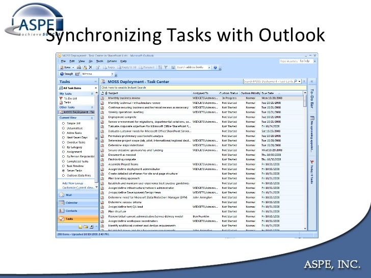 You can sync up your Outlook email system's task list with your SharePoint site's task list.