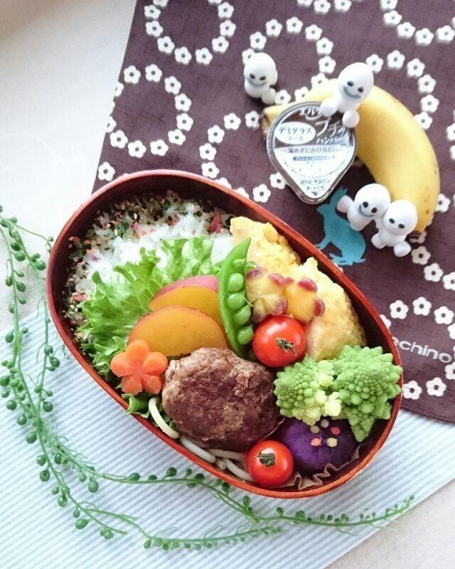 e satoさんの娘弁当 ハンバーグ ハムとチーズのオムレツ さつまいもの甘煮 ロマネスコ スパゲッティ 紫いもの茶巾 スナップえんどう にんじん モンキーバナナ #snapdish #foodstagram #instafood #food #homemade #cooking #japanesefood #料理 #手料理 #ごはん #おうちごはん #テーブルコーディネート #器 #お洒落 #ていねいな暮らし #暮らし #お弁当 #おべんとう #ランチ #おひるごはん #lunch #ハンバーグ #オムレツ #スパゲッティ #にんじん #紫いも #バナナ #ロマネスコ https://snapdish.co/d/SyW0La