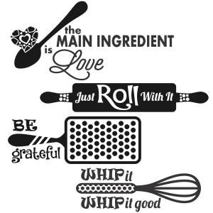 Kitchen Food Sayings with Spoon, Grater, Rolling Pin and Balloon Whisk Cuttable Design Cut File. Vector, Clipart, Digital Scrapbooking Download, Available in JPEG, PDF, EPS, DXF and SVG. Works with Cricut, Design Space, Sure Cuts A Lot, Make the Cut!, Inkscape, CorelDraw, Adobe Illustrator, Silhouette Cameo, Brother ScanNCut and other compatible software.