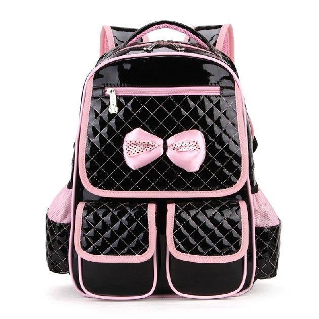 2014 моды милые детские рюкзак Студенты девушка принцесса ПУ школьная сумка лук дизайн розовый черный Бесплатная доставка