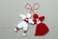 Cute yarn dolls - The description is in Russian or something, but I think the pictures tell enough about how they're done.