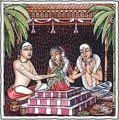 Vivaha - Marriage. The marriage ceremony, performed in a temple or wedding hall around the sacred homa fire. Lifetime vows, Vedic prayers and seven steps before God and Gods consecrate the union of husband and wife.