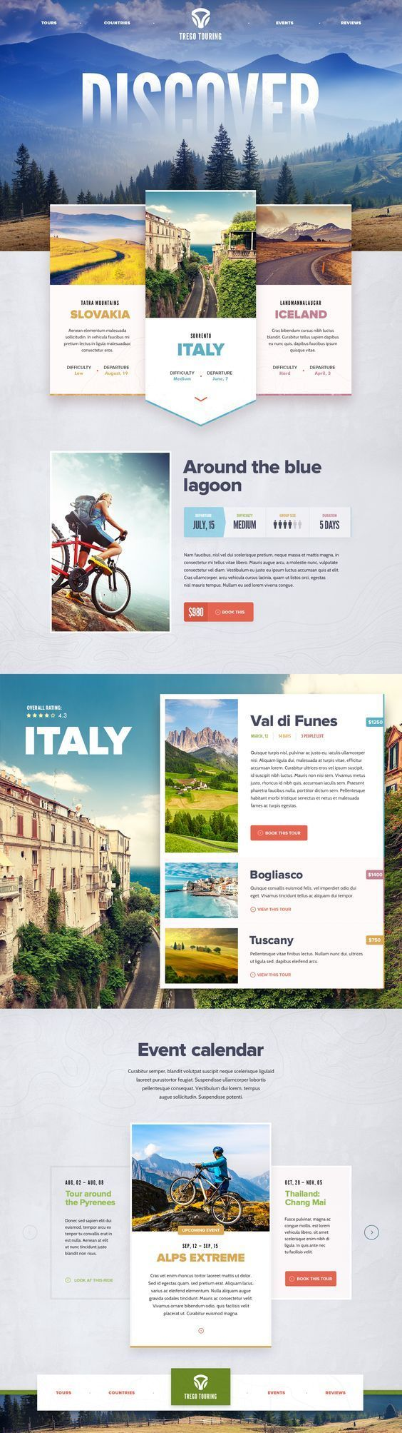 Trego Touring (guided bicycle tours) Ui design concept and visual style by Mike | Creative Mints: