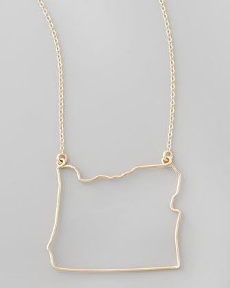 GaugeNYC Gold State Pendant Necklace, Oregon