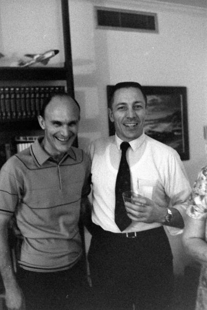 Ken Mattingly and Jack Swigert at a postflight party in Swigert's apartment, April 1970.