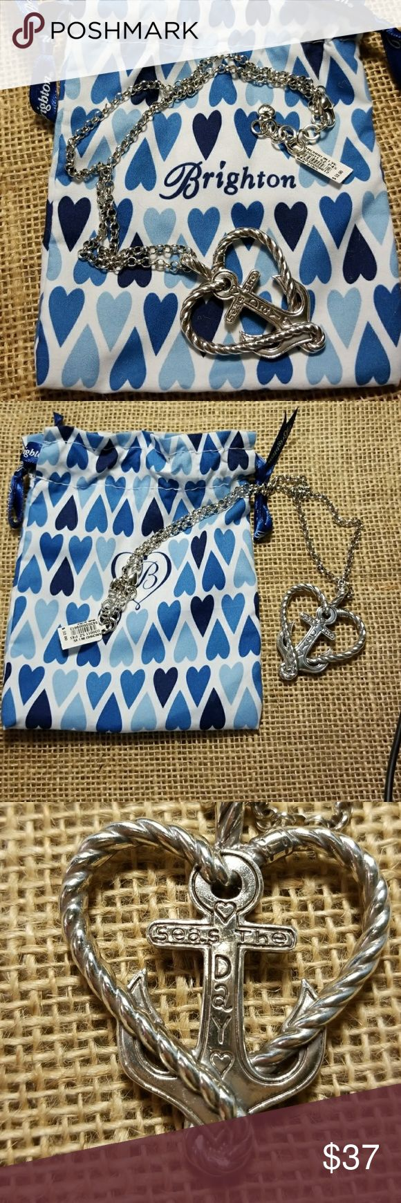"""Sea's the Day"" Brighton necklace Heart charm necklace that says ""sea's the day""   in anchor. Brand new with tags and blue Brighton gift bag. Brand new condition with no issues. Brighton Jewelry Necklaces"