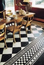 black + white moroccan floor tile #kitchen. This would be a nice design to paint on a canvas floor mat.