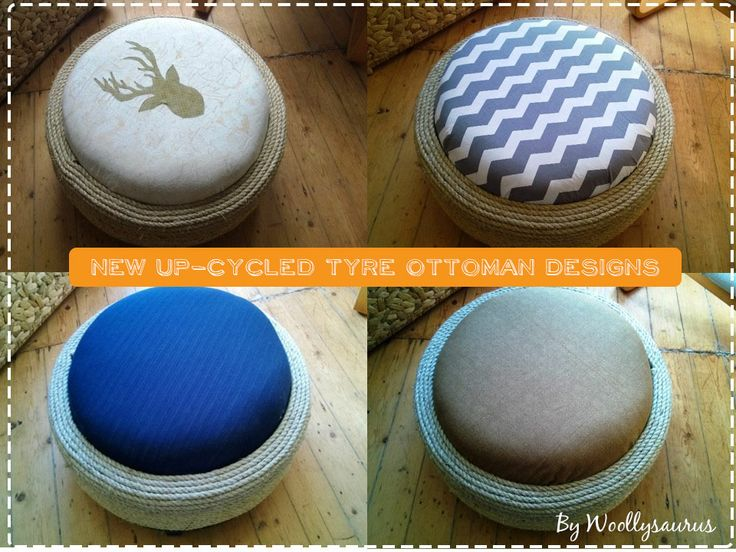 New Up-Cycled Tyre Ottoman Designs // Woollysaurus