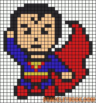 Superman perler bead pattern...wonder if I could do this in cross stitch for mattys room with other superheroes. ..