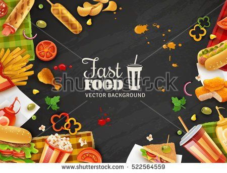 Fastfood restaurant colorful frame black background poster with popcorn mustard saus hotdogs and ice-cream vector illustration