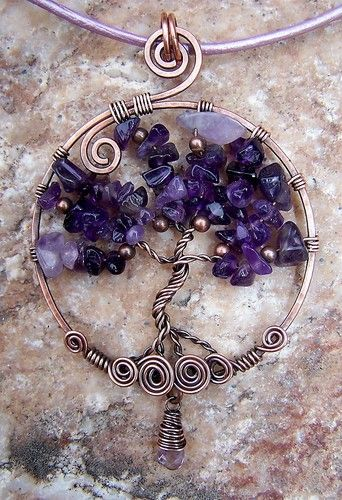 ARTANSOUL Tree of Life Pendant Wire Wrapped Amethyst Vintage Copper on Leather