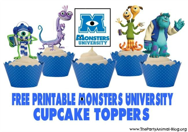 Monsters University Free Printable Cupcake Toppers