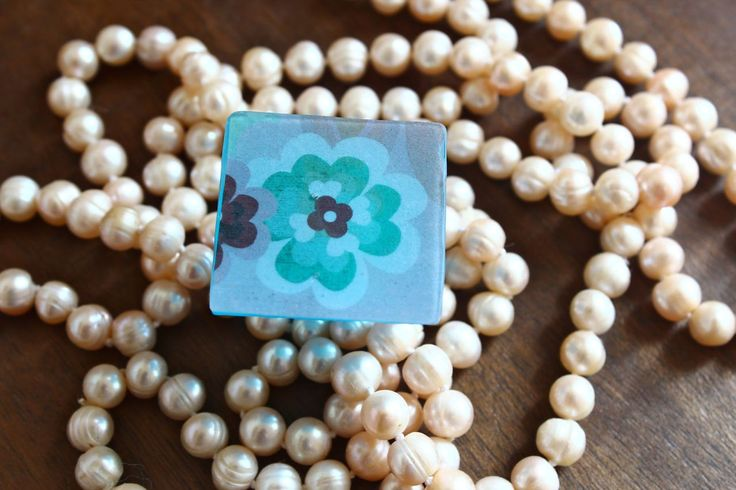 Statement resin square ring - tinted blue - beautiful high quality flower print paper inset by TheFlightyFlamingo on Etsy