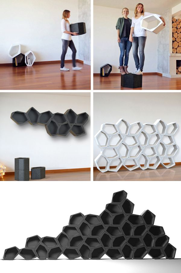 honeycombed storage units stacked in multiple arrangements in black and white color themed units for use both on the floor and wall