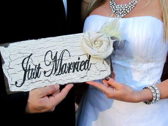 Just Married by SweetlySpokenShop on Etsy, $18.00