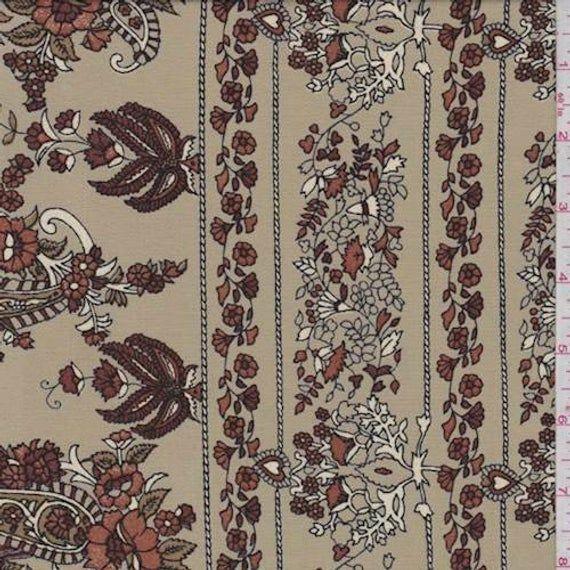 Khaki /& Multi Washed Floral Print, Floral Crepe de Chine Dress Fabric