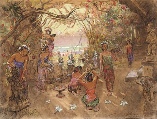 Balinese girls preparing offerings in the garden  signed 'J LeMayeur' (lower right)  charcoal and pastel on paper  19 x 25 in. (48 x 64 cm.)