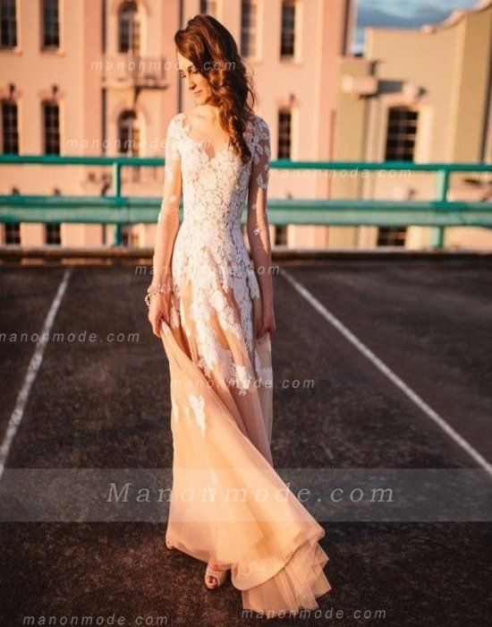 Long Sleeve V Neck Champagne Colored Wedding Dress