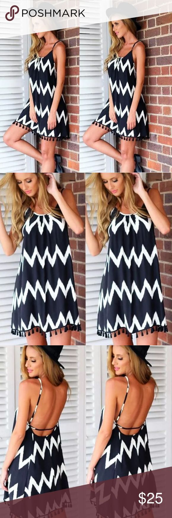 COMING SOON✨ Beautiful Black and White Summer Beach Dress. Light, comfortable, and sassy! The dress has fringes on the bottom which give it a unique look! Absolutely gorgeous dress! Dresses Mini