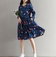 Vestidos de 2017 nova primavera mulheres. arte floresta folhas floral solto tamanho grande de algodão dress. queda cinto de roupas(China (Mainland))