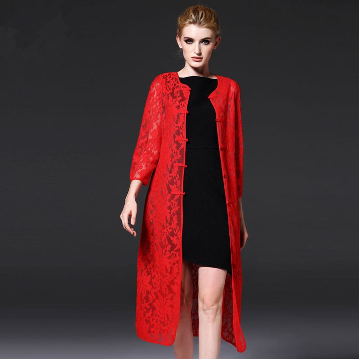 Autumn Womens Vintage lace Black red Chinese Womens Cheongsams Qipao sexy Evening clothes Cardigan Medium long thin coat 66301