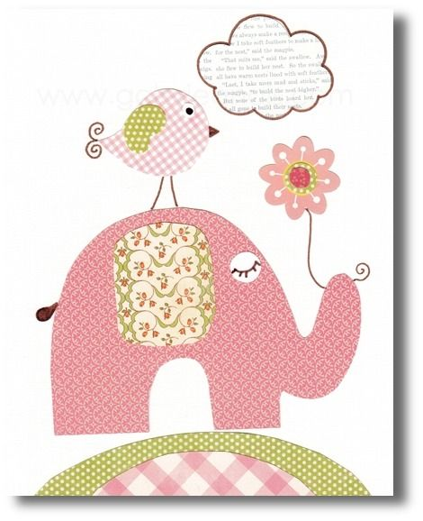 illustration pour chambre d 39 enfant fille elephant rose b b l phants et illustrations. Black Bedroom Furniture Sets. Home Design Ideas