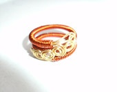Expandable Non Tarnish Copper Coiled Wire Brass Wrap Ring