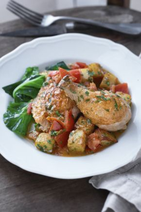 Chicken fricasee with vinegar and herbs