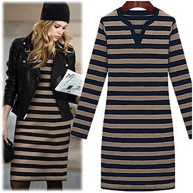 TS Casual V neck Stripe Knit Slim Dress - USD $ 27.99