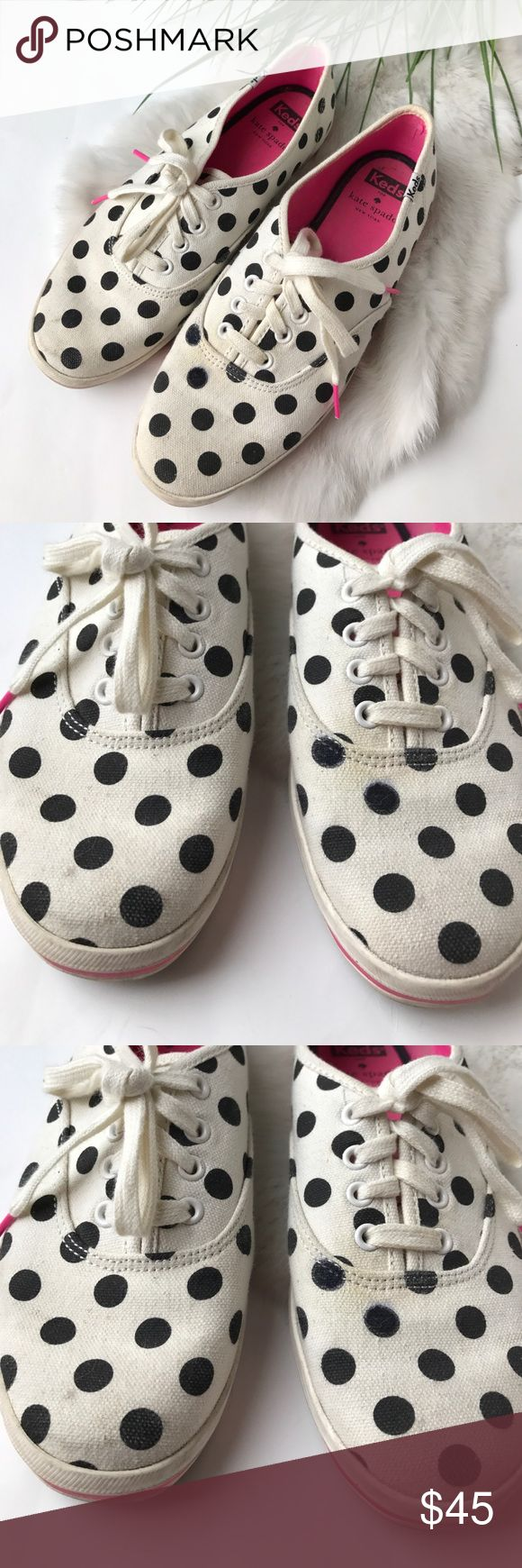 Kate Spade Canvas Shoes✨ Keds for Kate Spade! Cute polka dot shoes! These are a womens size 7.5 but fit like an 8! There are minor signs of wear on the canvas part. Worn about 10 times but they look great. I would say this is an 8/10 overall condition. No tears or rips just signs of wear on the canvas. Offers are welcome! kate spade Shoes Sneakers
