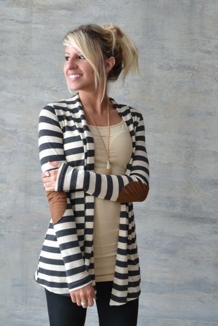 The Little Things striped elbow patch Cardi