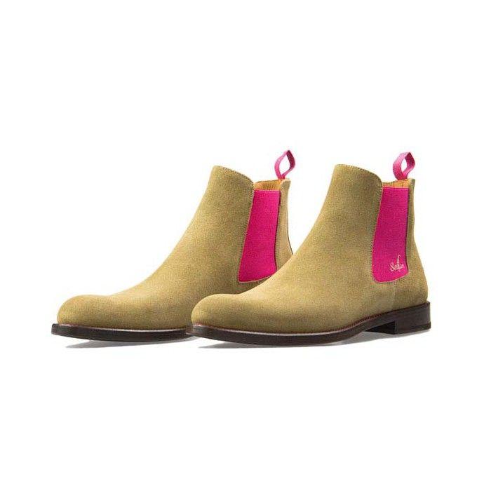 Serfan Chelsea Boot Damen Wildleder Beige Pink