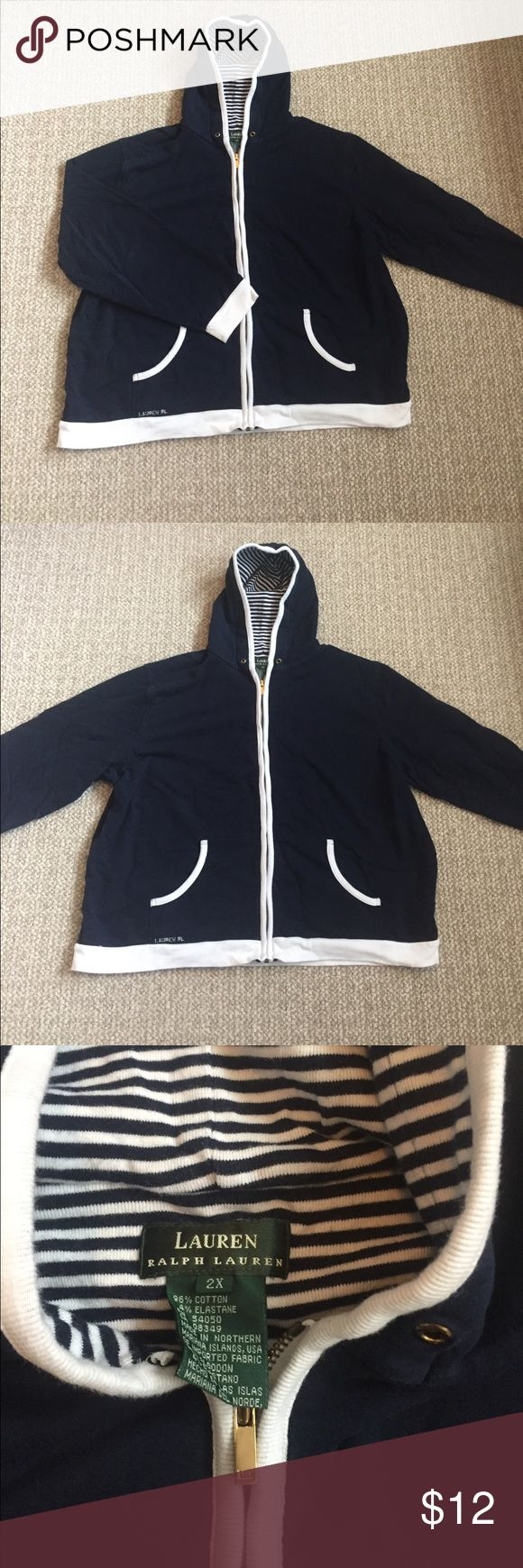 Ralph Lauren nautical sweatshirt Ralph Lauren nautical zip up hoodie; navy blue with white accents and a gold zipper; its missing the string for the hood (I took it out because the hood isn't huge) but otherwise in perfect condition; women's 2XL; 96% cotton, 4% elastane Ralph Lauren Tops Sweatshirts & Hoodies
