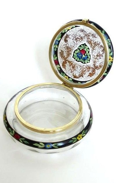 Details about  Large rare Glass jar Hermann Pautsch Haida Glas Tin