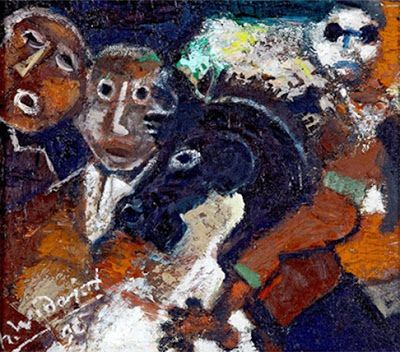 """Dua Turis Melihat pertunjukan kuda lumping"" by Widajat, 27cm x 32cm, Medium: Oil on canvas, Year: 1995"