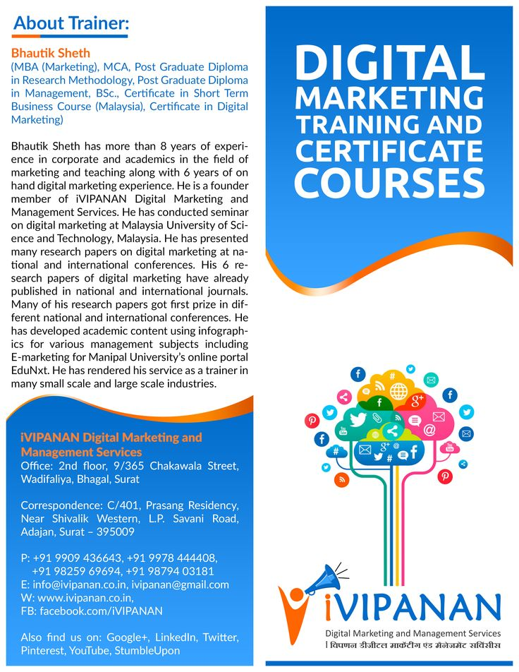 #DigitalMarketing Certificate Courses and Training. Call us on 09909436643 or visit www.ivipanan.co.in for more information