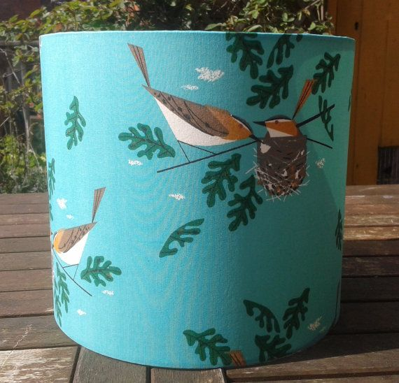 Charley Harper Nesting Birds fabric covered Lampshade
