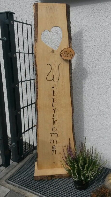 """Holzschwarte """"herzlich willkommen"""""""